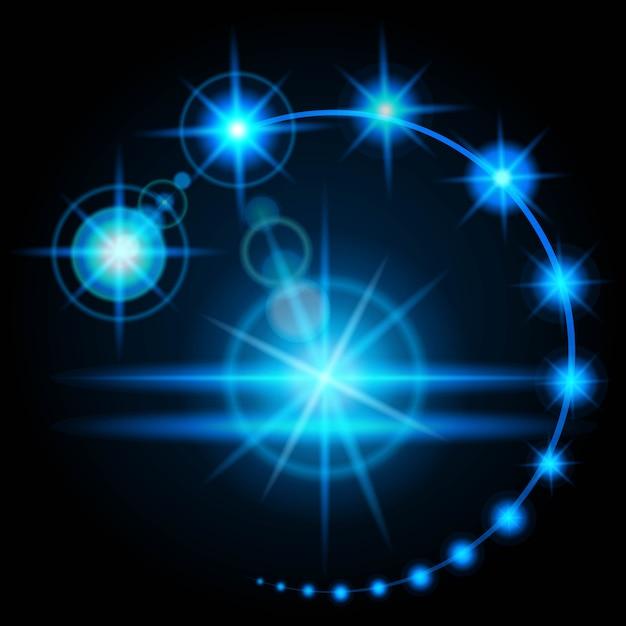 Bagliore effetto realistico, la luminosità della fonte di luce artificiale. l'energia di scarica elettrica. Vettore Premium