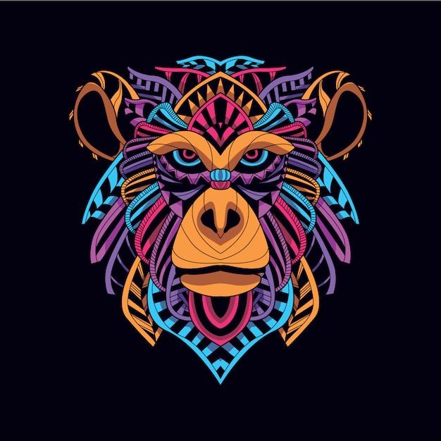Bagliore nel buio scimmia decorativa dal colore neon Vettore Premium