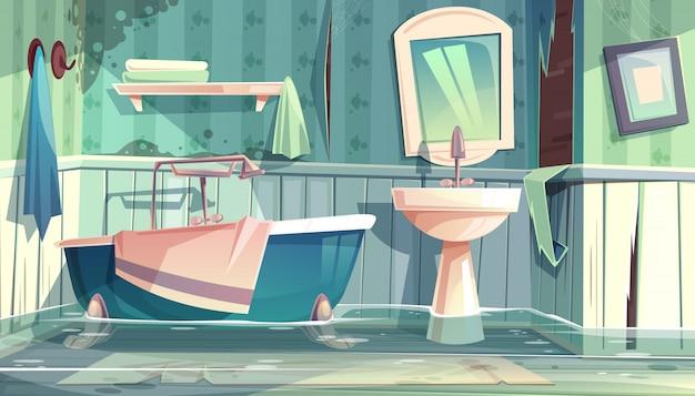 Bagno allagato in vecchi appartamenti o illustrazione del fumetto della casa con la vasca d'annata Vettore gratuito