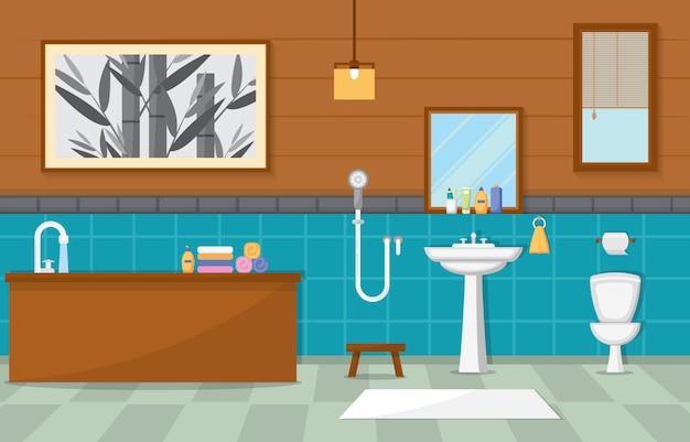 Bagno arredato residenziale Vettore Premium