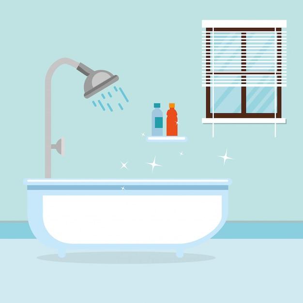 Bagno con vasca scena Vettore gratuito