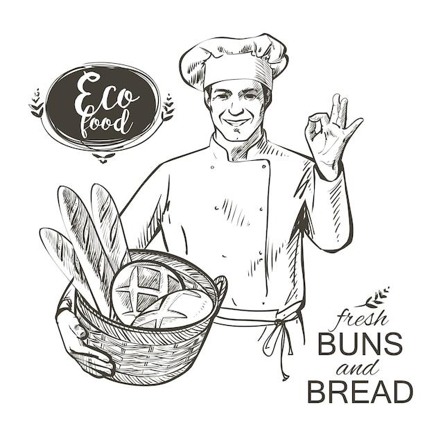 Baker che trasporta un cestino con pane Vettore Premium