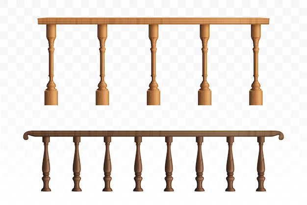 Balaustra in legno e ringhiera del balcone o corrimano Vettore gratuito