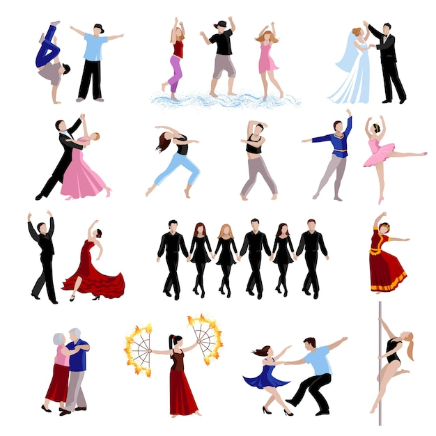 Ballando vari stili di persone di danza Vettore gratuito