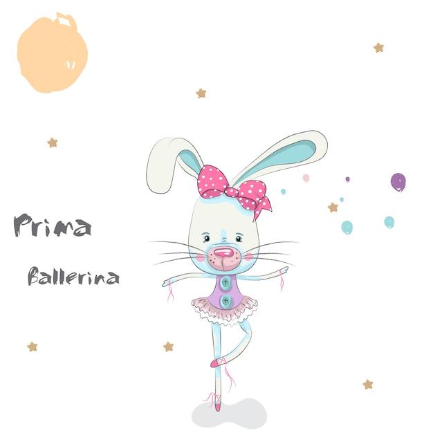Ballerina Di Coniglio Simpatico Cartone Animato Disegnato A Mano
