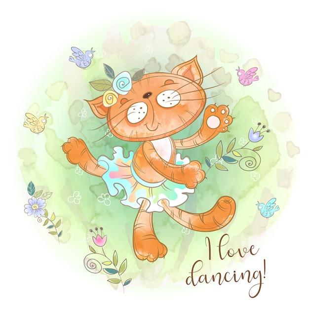 Ballerina di gattino carino ballare. amo ballare. iscrizione. Vettore Premium
