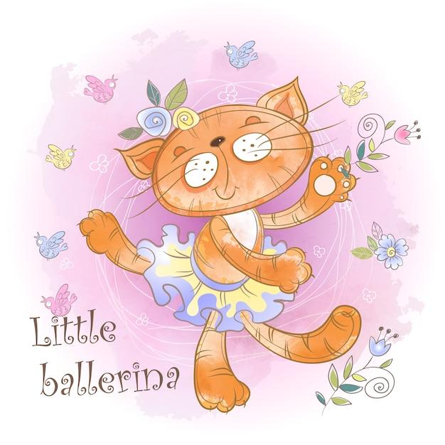 Ballerina di gattino carino ballare. piccola ballerina iscrizione. Vettore Premium