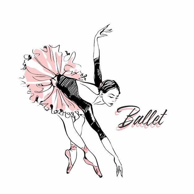 Ballerina in tutu di balletto rosa. Vettore Premium