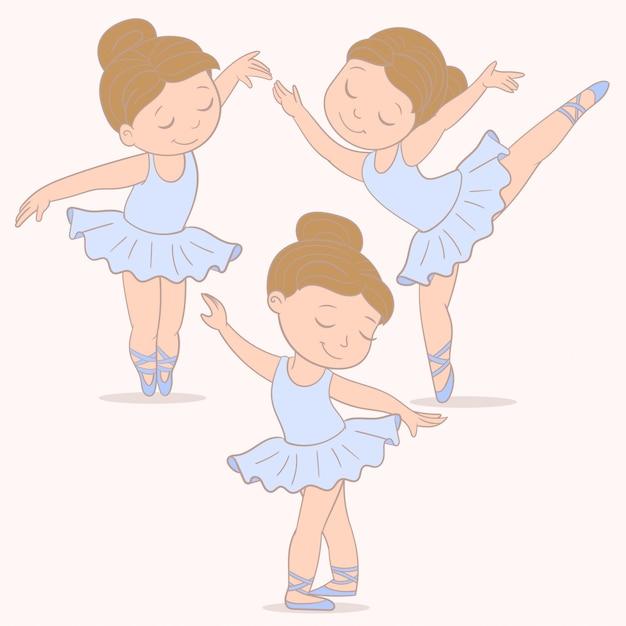 Ballerina ragazza ballerina Vettore Premium
