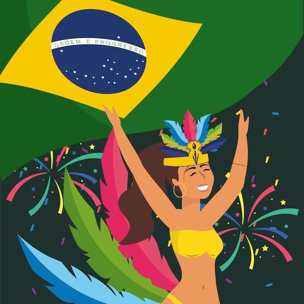 Ballerina ragazza con bandiera del brasile e fuochi d'artificio Vettore Premium