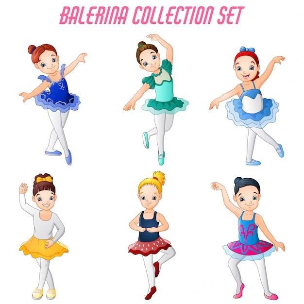 Ballerine della bambina che ballano insieme della raccolta Vettore Premium