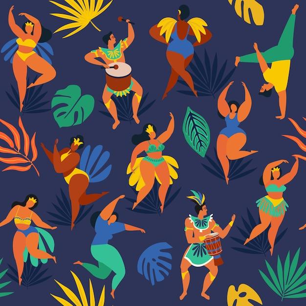 Ballerini di samba brasiliani del carnevale di rio de janeiro. Vettore Premium