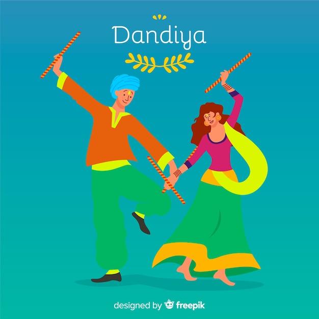 Ballerini piatti sfondo dandiya Vettore gratuito