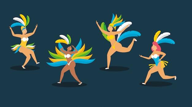 Ballerino brasiliano carnevale Vettore gratuito