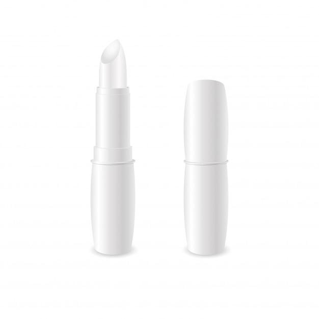 Balsamo labbra bianco lucido realistico. Vettore Premium