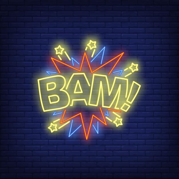 Bam lettering insegne al neon Vettore gratuito