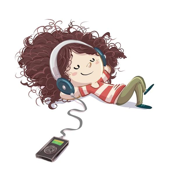 Bambina che ascolta la musica con le cuffie felici Vettore Premium
