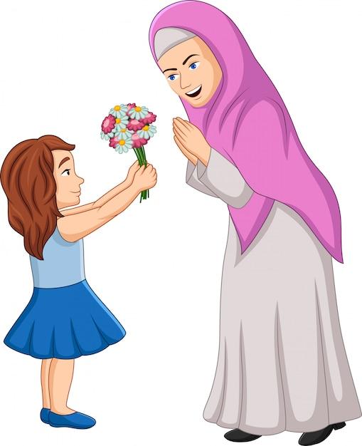 Bambina che dà un mazzo di fiori a sua madre Vettore Premium