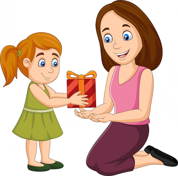 Bambina che dà un regalo a sua madre Vettore Premium