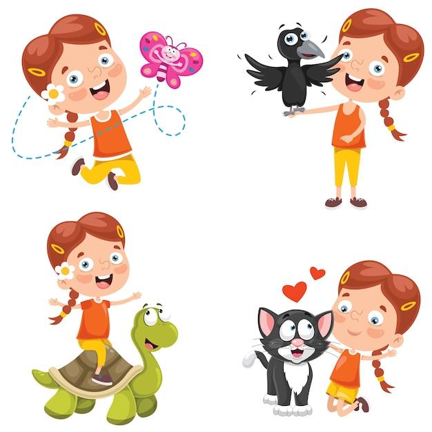 Bambina che gioca con gli animali Vettore Premium