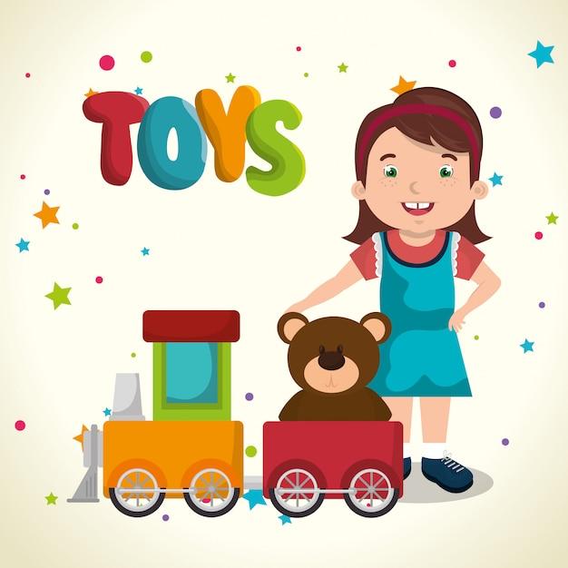 bambina che gioca con dei giocattoli