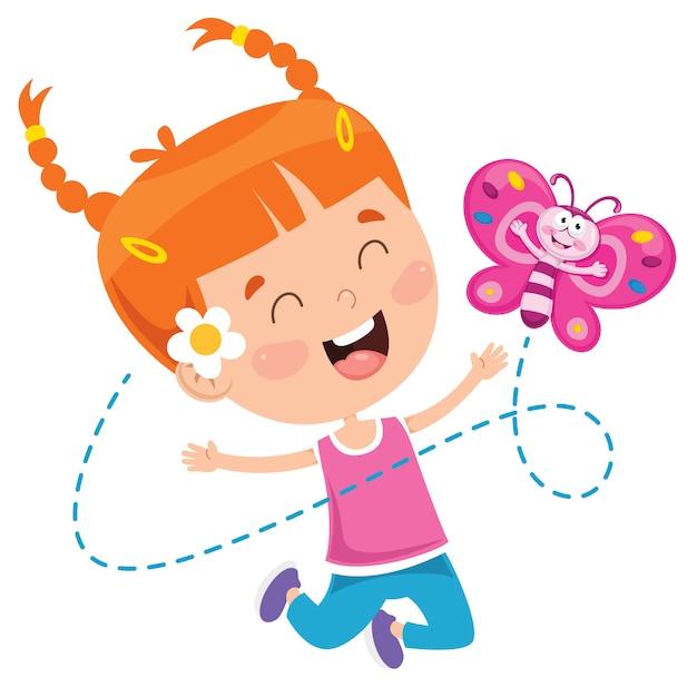 Bambina che gioca con la farfalla Vettore Premium