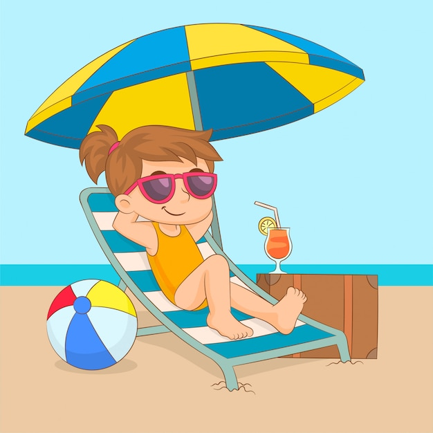 Bambina che gode del sole sul lettino con l'ombrello Vettore Premium