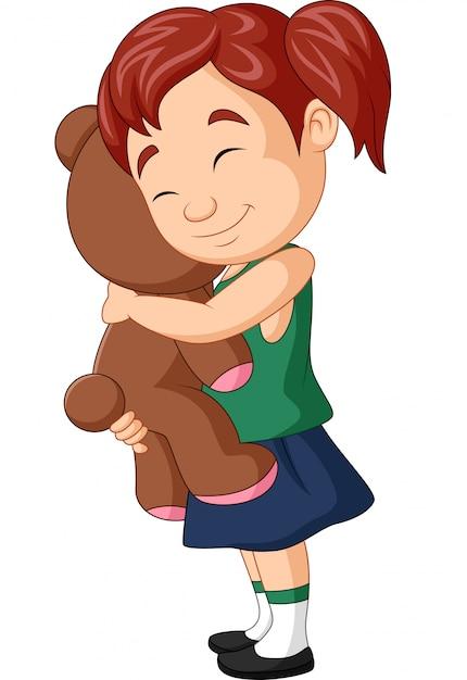 Bambina del fumetto che abbraccia orsacchiotto Vettore Premium