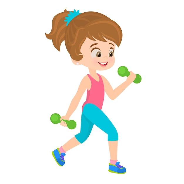 Bambina facendo esercizi Vettore Premium