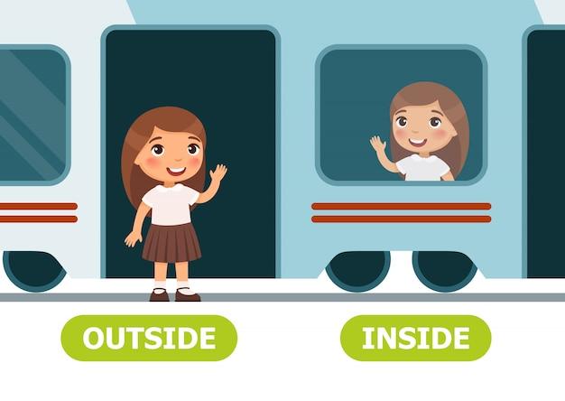 Bambina sul treno e fuori Vettore Premium