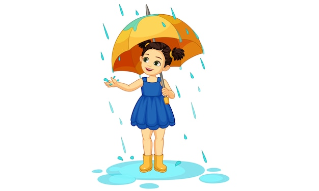Bambina sveglia con l'ombrello che gode della pioggia Vettore Premium