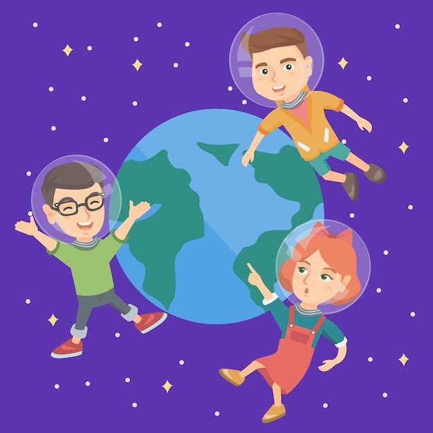 Bambini astronauti caucasici che volano nello spazio. Vettore Premium