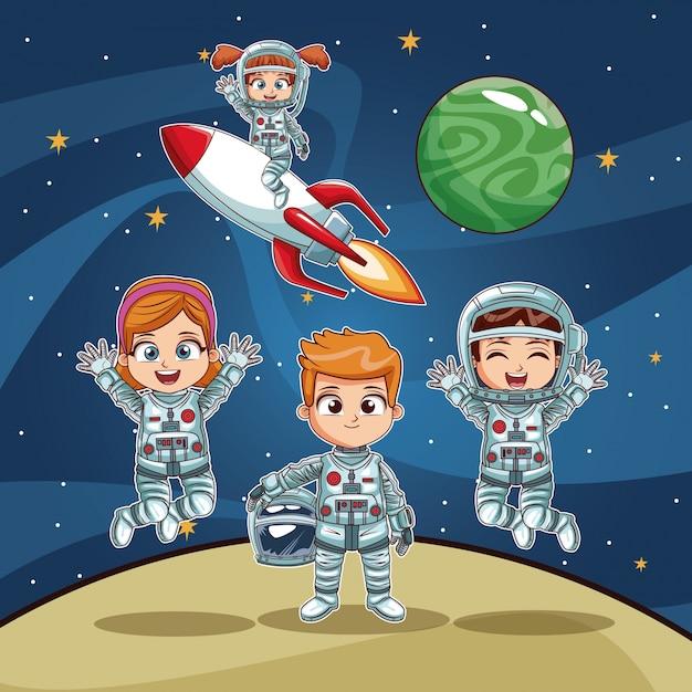 Bambini astronauti sul cartone animato spazio scaricare vettori