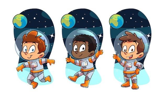 Bambini astronot sullo spazio Vettore Premium