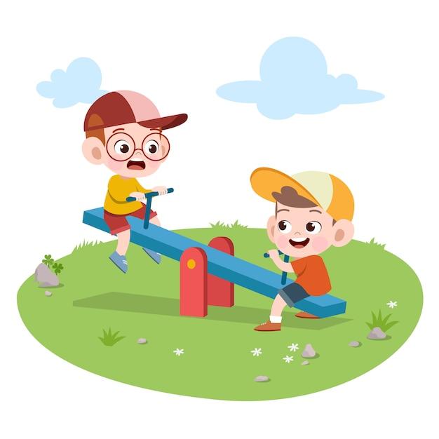 Bambini bambini che giocano l'illustrazione del campo da giuoco Vettore Premium