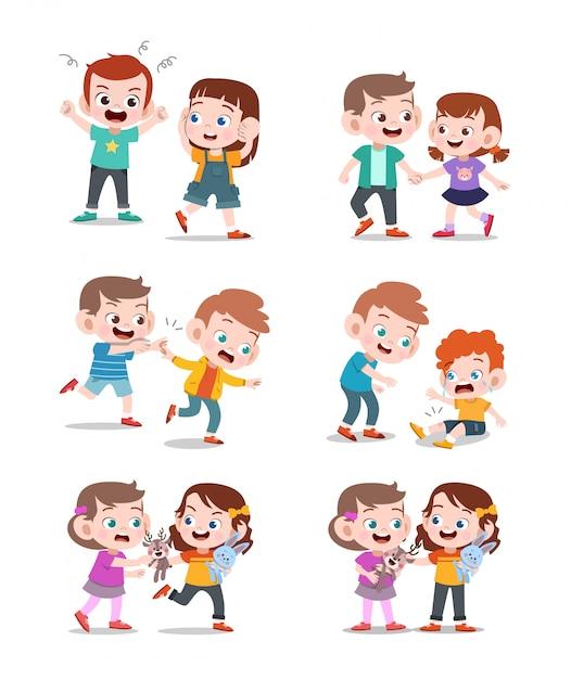 Bambini buoni e cattivi Vettore Premium