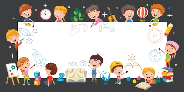 Bambini cartone animato con una cornice Vettore Premium