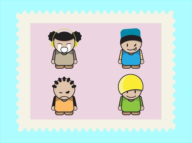 Bambini Cartoni Animati Vettore Di Espressione Confezione
