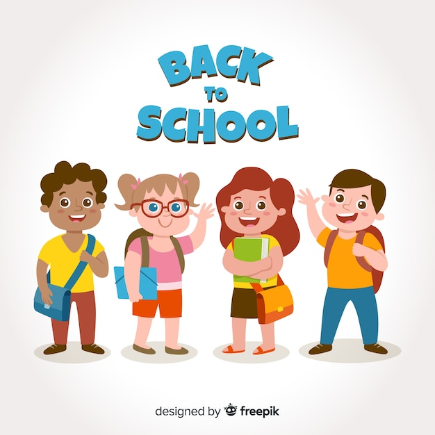 Bambini cartoon torna a scuola Vettore gratuito