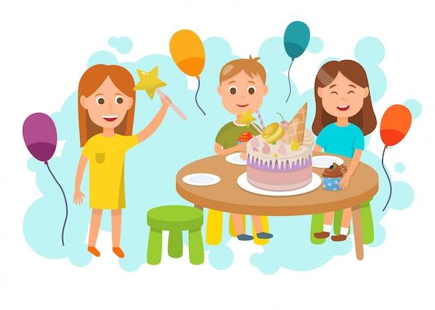 Bambini che celebrano il fumetto piatto festa di compleanno Vettore Premium