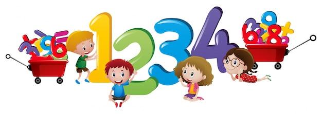 Bambini che contano numeri da uno a quattro Vettore gratuito