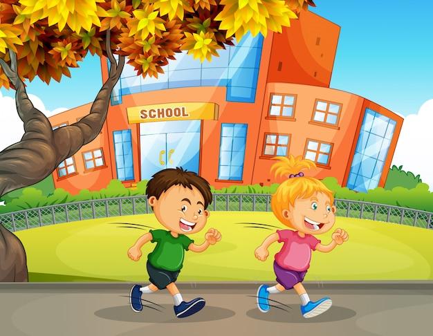 Disegno Di Bambino Che Corre : Bambini che corrono davanti alla scuola scaricare vettori premium