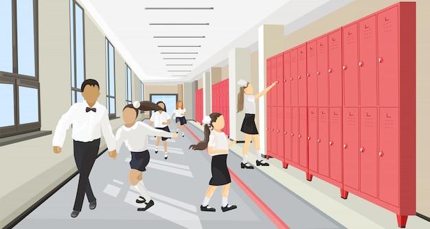 Bambini che corrono nello stile piano della sala della scuola. torna al concetto di scuola Vettore Premium