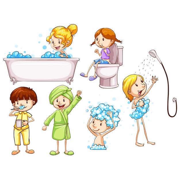 Bambini che fa le procedure quotidiane Vettore gratuito