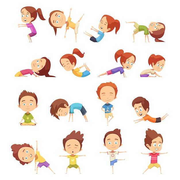 Bambini che fanno la raccolta yoga Vettore gratuito
