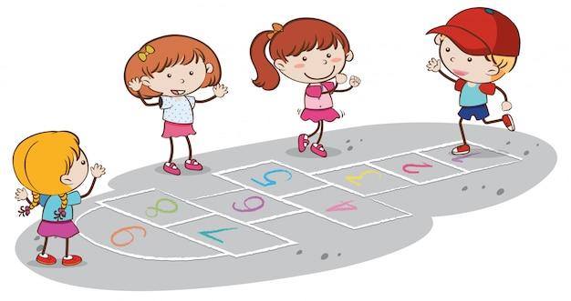 Bambini che giocano a campana su backgrounf bianco Vettore Premium