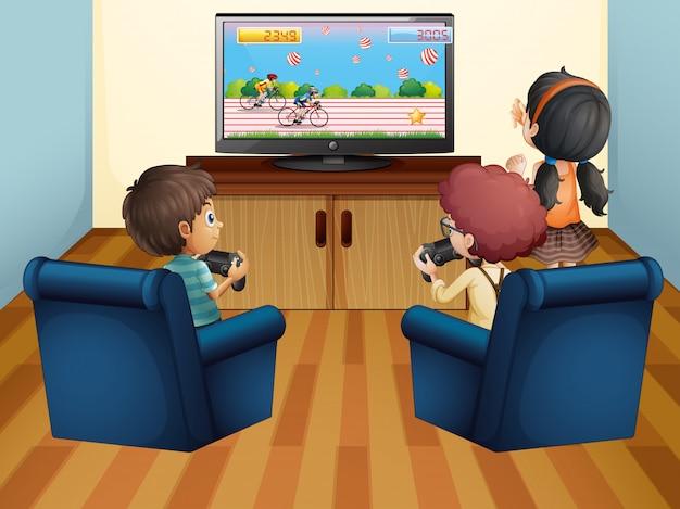 Bambini che giocano a computer game a casa Vettore Premium