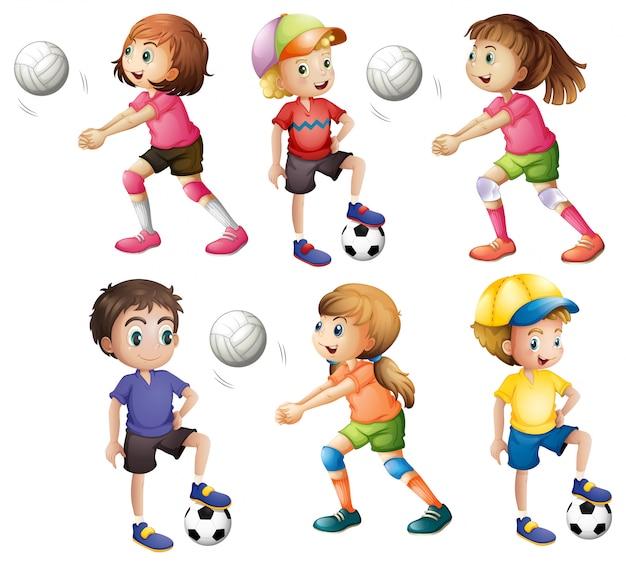 Bambini che giocano a pallavolo e calcio Vettore gratuito