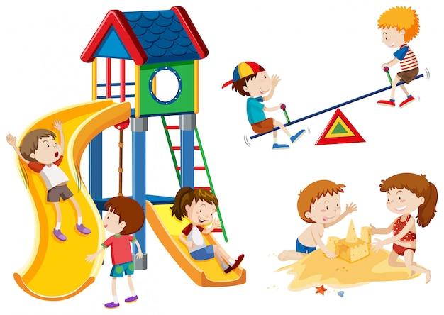 Bambini che giocano al parco giochi Vettore gratuito