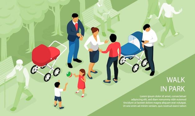 Bambini che giocano camminata all'aperto nel parco con i bambini dei genitori che fanno un sonnellino fuori in composizione isometrica nelle carrozzine Vettore gratuito